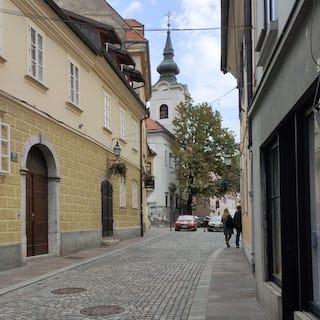 Autumn street view Ljubljana, Slovenia